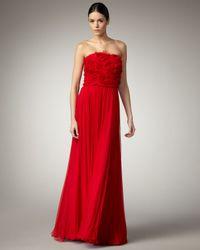 Tadashi Shoji - Red Strapless Rosette Gown - Lyst