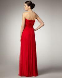 Tadashi Shoji | Red Strapless Rosette Gown | Lyst