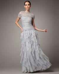 Tadashi Shoji | Gray Shirred Sequin Tulle Gown | Lyst