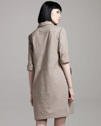 Theory | Gray Long-sleeve Shirtdress | Lyst