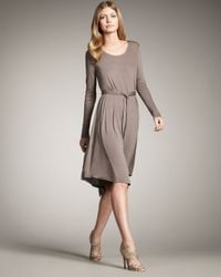 Theory | Gray Long-sleeve Tie-waist Dress | Lyst