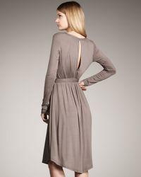 Theory - Gray Long-sleeve Tie-waist Dress - Lyst
