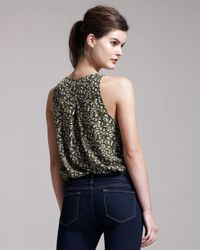 Theory | Green Leaf-print Silk Top | Lyst
