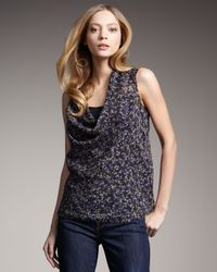 Theory | Blue Zen Floral Silk Top | Lyst