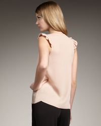 Theory - Natural Ruffle-front Silk Top - Lyst
