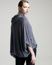 Theory - Gray Hooded Jersey Cape - Lyst