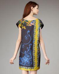 Tibi - Black Baroque Scarf-print Shift Dress - Lyst