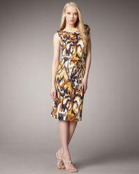 Tory Burch | Brown Verda Silk Jersey Printed Drawstring Dress | Lyst
