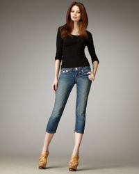 True Religion | Blue Lily Super T Tennessee Cropped Jeans | Lyst