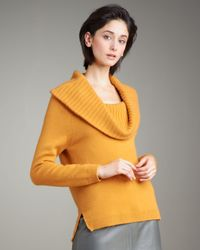 TSE | Yellow Cashmere Convertible-collar Sweater | Lyst