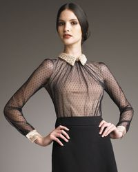 Valentino | Black Couture Dotted Bead-collar Blouse | Lyst