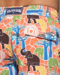 Vilebrequin - Orange Elephant-print Okoa Swim Trunks for Men - Lyst