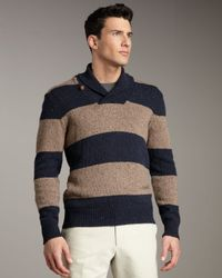 Vince   Brown Rugby-stripe Shawl-collar Sweater for Men   Lyst