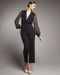 Saint Laurent | Black Sheer-sleeve Tuxedo Jumpsuit | Lyst