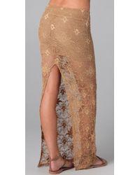 Nightcap - Natural Back Slit Lace Maxi Skirt - Lyst