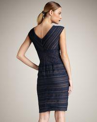 Tadashi Shoji | Blue Ruched Lace-waist Dress | Lyst