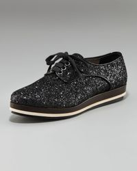 Miu Miu - Black Glitter Lace-up Oxford - Lyst