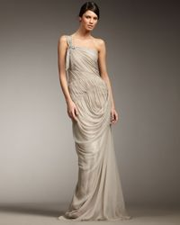 Vera Wang Lavender | Natural One-shoulder Ruched Gown | Lyst