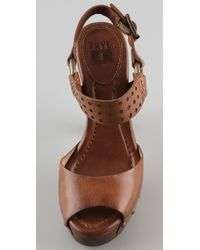 Frye - Brown Fran Wooden Sandals - Lyst