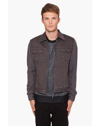 Robert Geller - Gray Combo Sleeve Denim Jacket for Men - Lyst