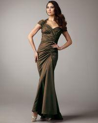 Tadashi Shoji - Brown Cold-shoulder Taffeta Gown - Lyst