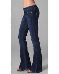 PAIGE | Blue Lou Lou Petite Flare Jeans | Lyst