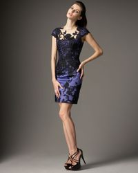 Mandalay | Blue Cap-sleeve Lace Illusion Dress | Lyst