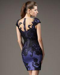 Mandalay - Blue Cap-sleeve Lace Illusion Dress - Lyst