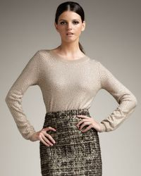 Alice + Olivia | Brown Crewneck Rhinestone Sweater | Lyst