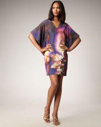 Nicole Miller - Purple Abstract-print Shift Dress - Lyst