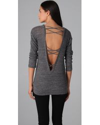 Nightcap - Gray Open Back Sweater - Lyst