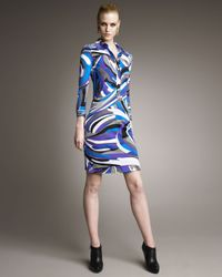 Emilio Pucci | Blue Printed Polo Dress | Lyst