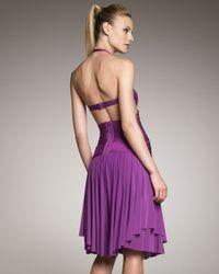 Hervé Léger - Purple Asymmetric Halter Dress - Lyst