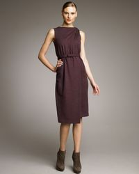 Jil Sander | Purple Twisted-shoulder Wrap-illusion Dress | Lyst