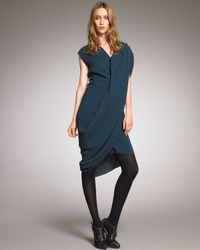 Lanvin - Blue Asymmetric Draped Dress - Lyst