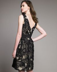 Lela Rose - Gray Ribbon & Lace V-neck Dress - Lyst