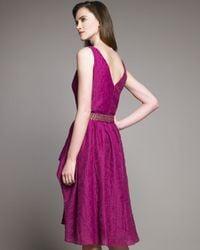 Lela Rose | Purple Textured V-neck Dress | Lyst