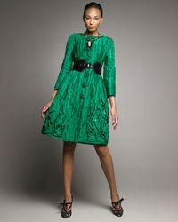 Oscar de la Renta - Green Embroidered Coatdress - Lyst