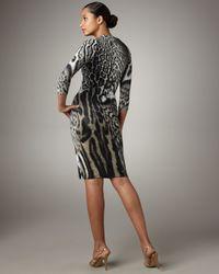 Roberto Cavalli - Natural Pin-neck Leopard Jersey Dress - Lyst