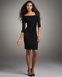 Roberto Cavalli - Black Asymmetric Fitted Jersey Dress - Lyst