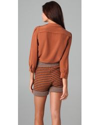 See By Chloé - Brown Long Sleeve Neck Tie Blouse - Lyst