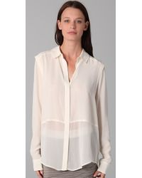 T By Alexander Wang | White Combo Blouse | Lyst