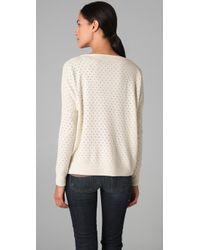Vince - Natural Pointelle Boat-neck Sweater - Lyst