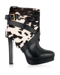 Alexander McQueen - Black Animalprint Calf Hair and Leather Ankle Boots - Lyst