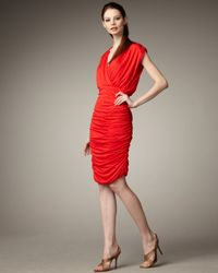 Alice + Olivia | Red Nanette Ruched Skirt Dress | Lyst