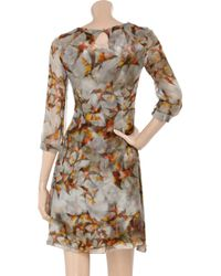 Erdem | Gray Angelica Swallow-print Silk Dress | Lyst