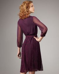 Halston | Purple Polka-dot Combo Dress | Lyst
