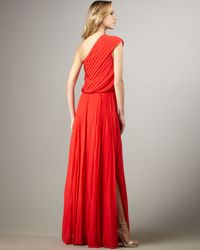 Halston - Red One-shoulder Pleated Dress - Lyst