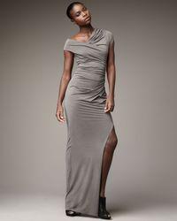 Helmut Lang   Gray Long Asymmetric Dress   Lyst