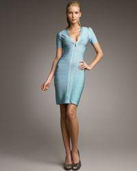 Hervé Léger | Blue Zip-front Bandage Dress, Teal | Lyst